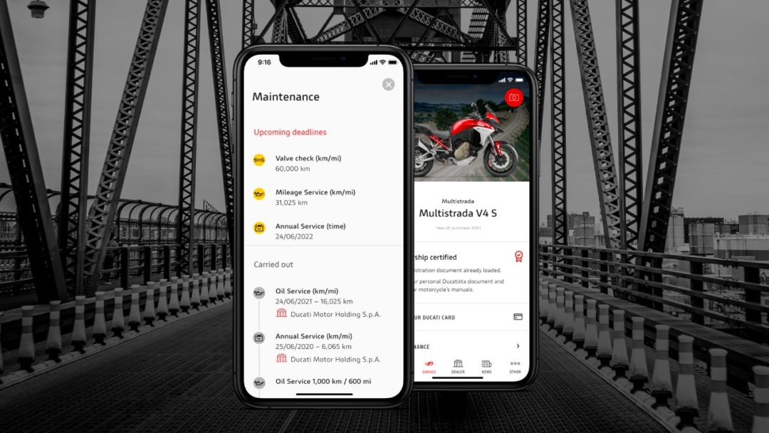 MyDucati App gets a new Maintenance section